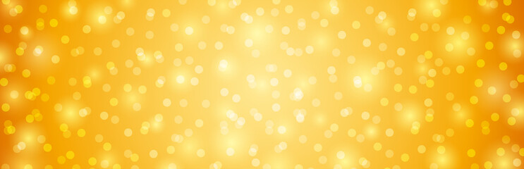 Wall Mural - Golden background with circles bokeh.  Merry Christmas and Happy New Year greeting banner. Horizontal holiday background, headers, posters, cards, website.Vector illustration