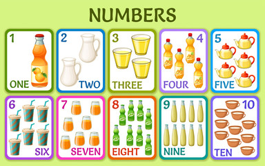 Cartoon drink. Children cards numbers for kids. Learning to count. Isolated vector illustration.