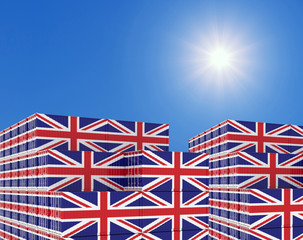Container yard full of containers with flag of UK Flag. 3d illustration.