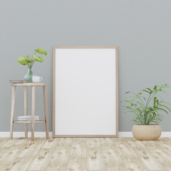 Blank poster on gray  wall, 3D Rendering