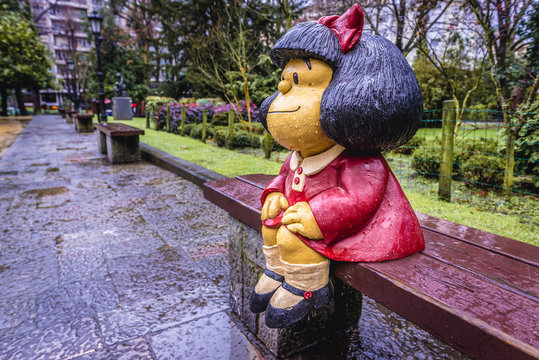 Oviedo, Spain - January 25, 2019: Mafalda comic character created by Pablo Irrgang in San Francisco Park, central park of Oviedo city