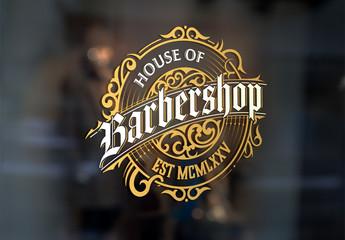 Vintage Barber Shop Logo Layout with Floral Elements