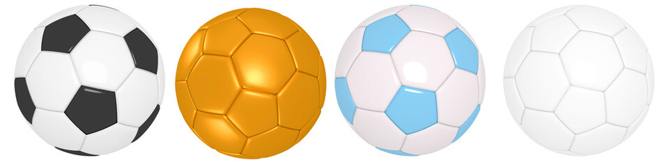 Obraz Set of soccer ball with classic design isolated different positions on background with clipping path. highly detailed resolution for creative concept & spot,website,banner, promote, product 3d render - fototapety do salonu
