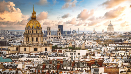 Aerial view of the Les Invalides and the Pantheon in Paris, France. Fotomurales