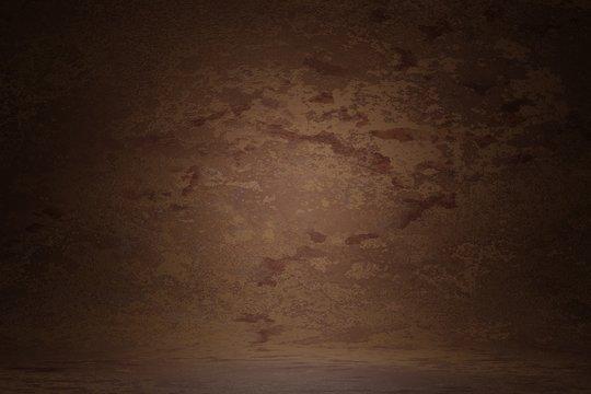 Dark brown vintage texture wall scratch blurred stain background. Marble design photo studio portrait backdrop, banner website soft light. 3D rendering