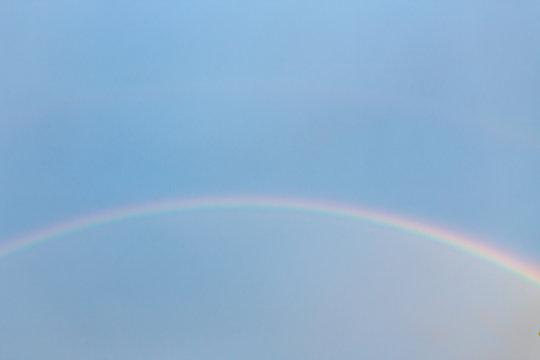 淡い空に虹