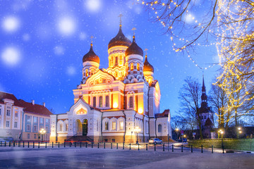 Russian Orthodox Alexander Nevsky Cathedral and Christmass illuminated at night, Tallinn, Estonia