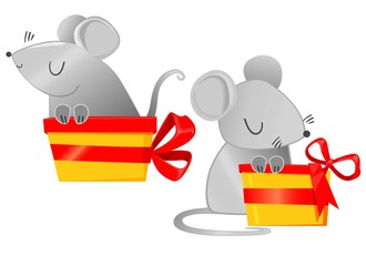 Fotoväggar - 2020. Cute Mouse and gift box with a red bow. Cartoon character childish illustration. Chinese New Year greeting card.Year of the Rat. Vector. Holiday card design.