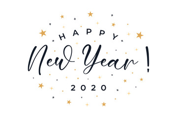Happy New Year 2020 text lettering handwritten calligraphy with gold stars ornament isolated on white background. Greeting Card Vector Illustration.