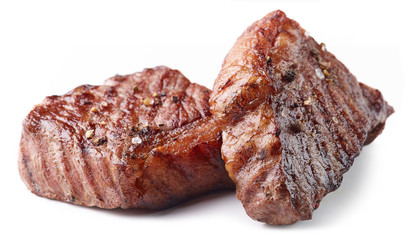 Grilled Beef Steak Isolated on white background
