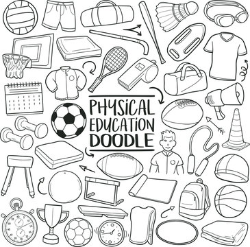 Phisical Education Subject. Traditional Doodle Icons. Sketch Hand Made Design Vector Art.