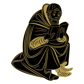 Isolated vector illustration. Seated medieval man reading a book or bible. Illuminated manuscript motif. Black and gold silhouette.