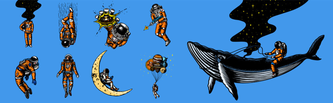 Set of astronauts in the solar system. Funny Spaceman and whale, taking off cosmonaut, planets in space, balloons and the moon. Engraved hand drawn Old sketch in vintage style. Vector illustration.