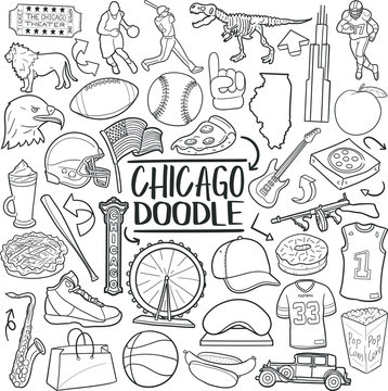 Chicago Illinois Travel. Tourism Set Famous City. Traditional Doodle Icons Sketch Hand Made Design Vector.
