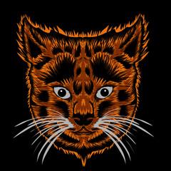 Foto op Canvas Hand getrokken schets van dieren head of cat