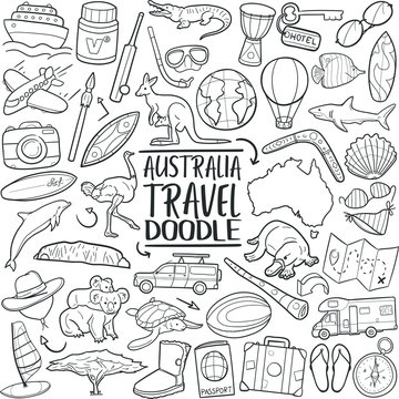 Australia Icons Travel. Tourism Set Famous Country. Traditional Doodle Drawn Sketch Hand Made Design Vector.
