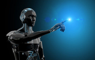Black and blue intelligent robot cyborg pointing finger on dark 3D rendering