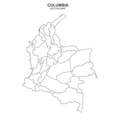 vector map of Columbia isolated on white background