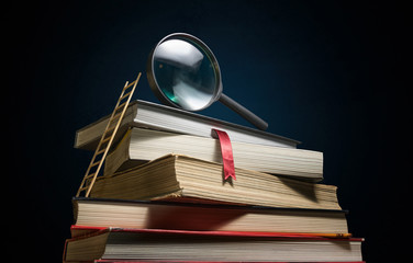 Stack of books with ladder and magnifier on the desk. Concept of education, learning, career development.