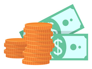 Wall Mural - Two stacks of gold coins and two green banknotes with dollar sign. Currency savings, cash earning, isolated on white, money symbol icon flat vector