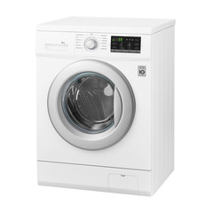 White Front Load Washing Machine Isolated on White Background.Side View of Modern Washer with Electronic Control Panel. Household and Domestic Appliance. Home Innovation