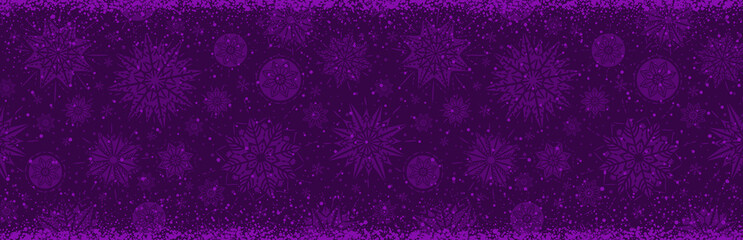Wall Mural - Purple christmas banner with snowflakes. Merry Christmas and Happy New Year greeting banner. Horizontal new year background, headers, posters, cards, website.Vector illustration
