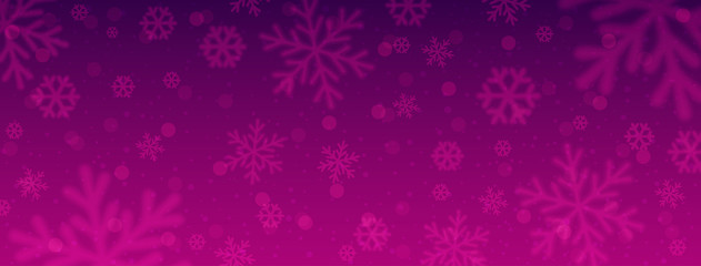 Wall Mural - Purple christmas banner with blurred snowflakes. Merry Christmas and Happy New Year greeting banner. Horizontal new year background, headers, posters, cards, website. Vector illustration