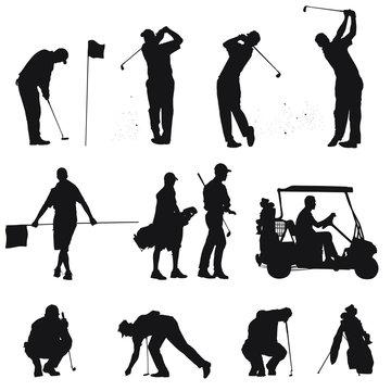 Vector silhouettes of men golfing