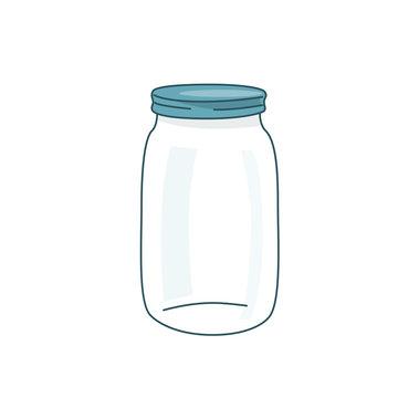 Empty glass jar vector illustration with lid. Cap close blank mason bottle. Simple flat cartoon background