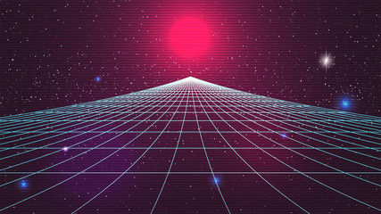 Synthwave sunset backround. Retro future 80s backdrop. Perspective grid, sun, dark starry sky. Futuristic sci-fi virtual scene. 3d computer abstract style. Flyer template. Stock vector illustration Fotobehang