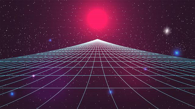 Synthwave sunset backround. Retro future 80s backdrop. Perspective grid, sun, dark starry sky. Futuristic sci-fi virtual scene. 3d computer abstract style. Flyer template. Stock vector illustration