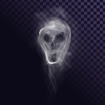 Smoke skull on transparent background, creepy ghost