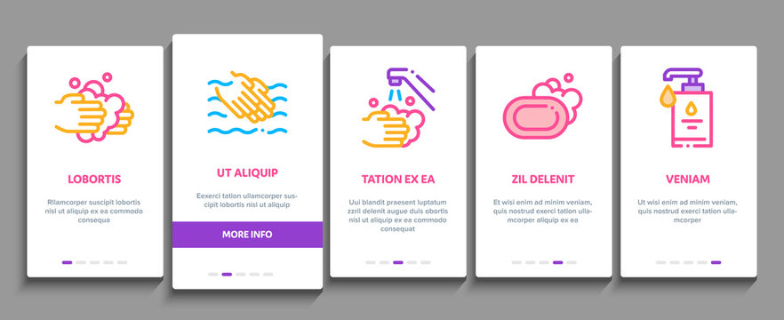 Hand Healthy Hygiene Onboarding Mobile App Page Screen. Hand Protection, Washing With Anti Bacterial Soap And Foam, Paper Concept Illustrations