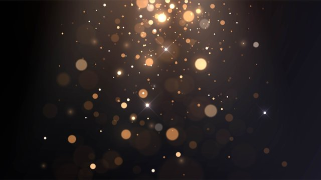 Vector background with golden bokeh, falling golden sparks, dust glitter, blur effect