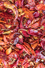 Dried chili peppers for sale at the market in Debark