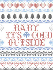 Foto auf AluDibond Boho-Stil Scandinavian Christmas pattern inspired by Baby its cold outside carol festive elements in cross stitch with heart, snowflake, Christmas tree, star, snowflakes in red, blue, white
