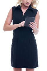 Young blonde businesswoman using tablet concept isolated on white