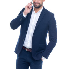 Professional businessman calling isolated on white