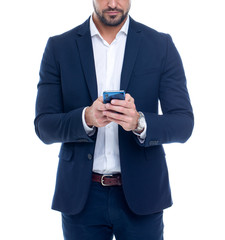 Businessman using smartphone concept isolated on white