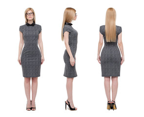 Young businesswoman front side back view isolated on white