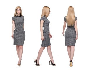 Young blonde businesswoman walking front side back view isolated on white