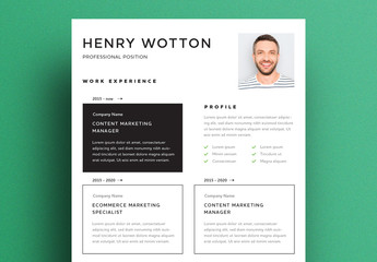 Resume Layout with Black Accents