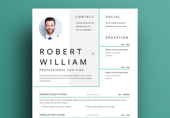 Resume Layout with Green Line Elements