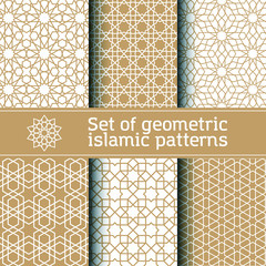 Set of seamless vector geometric pattern, tradition islamic ornament. Seamless pattern in Moroccan style.