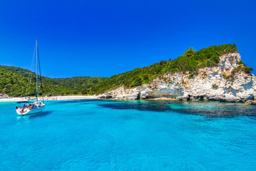 Turquoise coast of Antipaxos island near Corfu with Voutoumi beach, Greece, Europe.