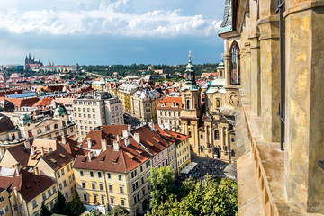 View of the panorama of the old city from the height of the town Hall in Prague.