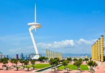 Barcelona, Spain - June 2018: Calatrava tower on Montjuic hill