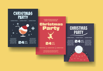 Christmas Party Poster Set Layout with Illustrations