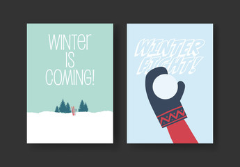 Winter Card Layout with Snow Activities Illustrations