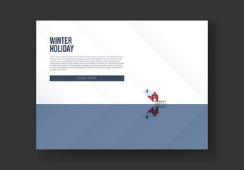 Winter Holiday Flyer Layout with Lake Cabin Banner